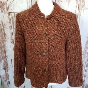 Vintage 70's rust lightweight tweed blazer jacket